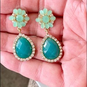 Aqua & Goldtone Drop Pierced Earrings